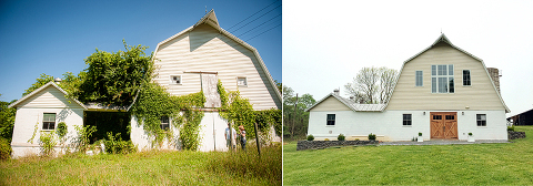 48 Fields Farm | The Dairy Barn Exterior Renovation - Before and After
