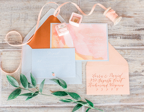 Peach and Copper Wedding at 48 Fields Farm in Leesburg VA