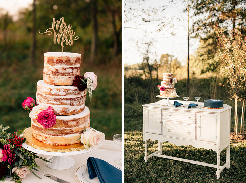 Naked Cake at a Rustic Navy Farmhouse Wedding in Leesburg VA at 48 Fields Farm
