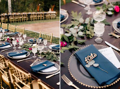 Navy Farmhouse Al Fresco Wedding Reception at 48 Fields Farm in Leesburg VA