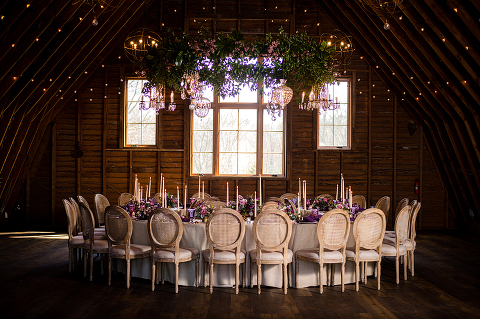 This One Of A Kind Winter Wedding Reception Featured Intimate Seating In The Round With Luxurious Hanging Fl Chandelier At 48 Fields Leesburg Va