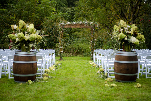 Wood Arbor for Wedding Ceremony in the Something Borrowed Wedding Closet | 48 Fields Farm in Leesburg, VA
