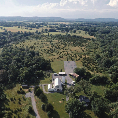 Aerial View of 48 Fields Farm | Barn Wedding Venue in Leesburg VA