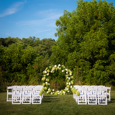 Hydrangea Floral Moongate for Wedding Ceremony at 48 Fields Farm | Barn Wedding Venue in Leesburg VA