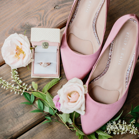 Rose Gold and Pink Wedding Details at 48 Fields Farm in Loudoun County, VA
