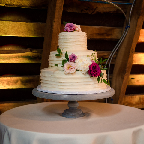 Three Tied Wedding Cake for a Barn Wedding Reception at 48 Fields Farm in Northern Virginia
