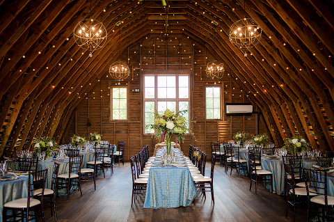 Tall Centerpieces, Textured Linens, and Elegant Reception Details at a Barn Wedding at 48 Fields Farm in Leesburg, VA