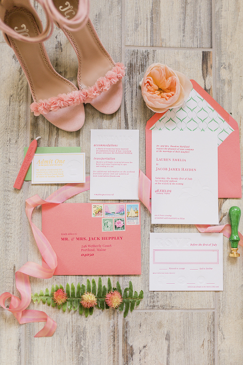 Pink and Coral Wedding Invitation Suite at 48 Fields Farm, a barn reception venue in Leesburg, VA