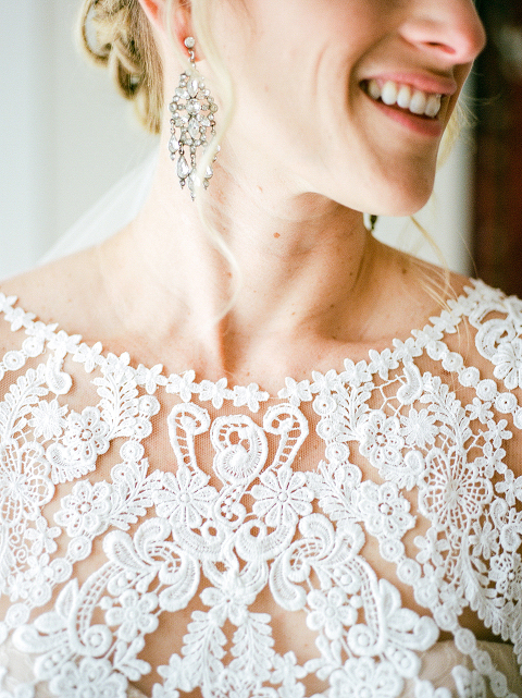 Delicate Wedding Dress Details at 48 Fields Farm, a Barn Wedding Reception in Leesburg, VA