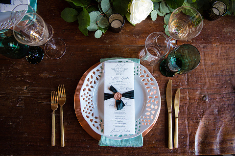 Metallic Wedding Reception Details at 48 Fields Farm, a Barn Wedding in Leesburg VA