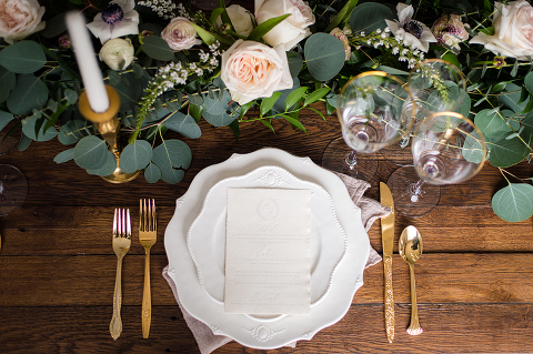 White, Gold, and Greenery Wedding Reception Details at 48 Fields Farm in Leesburg VA