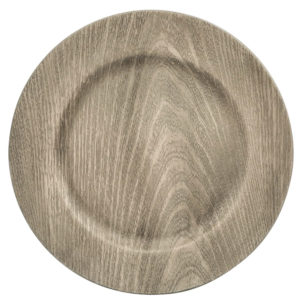 "13"" Gray Wood Grain Charger Plates in the Something Borrowed Wedding Closet 