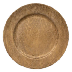 """13"""" Wood Grain Charger Plates in the Something Borrowed Wedding Closet   48 Fields Farm in Leesburg, VA"""