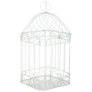 White Bird Cage Card Holder in the Something Borrowed Wedding Closet | 48 Fields Farm in Leesburg, VA