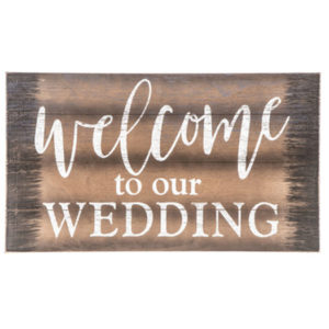 Welcome to Our Wedding Rustic Wood Sign in the Something Borrowed Wedding Closet | 48 Fields Farm in Leesburg, VA