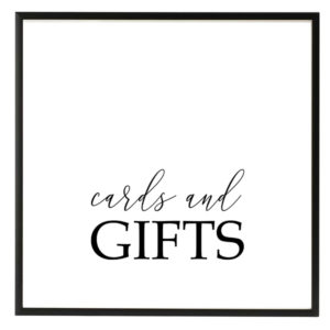 Cards and Gifts Black and White Script Sign in the Something Borrowed Wedding Closet | 48 Fields Farm in Leesburg, VA
