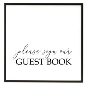 Guest Book Black and White Script Sign in the Something Borrowed Wedding Closet | 48 Fields Farm in Leesburg, VA