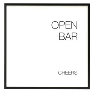 Open Bar Modern Black and White Sign in the Something Borrowed Wedding Closet | 48 Fields Farm in Leesburg, VA