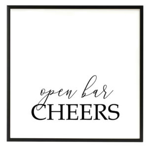 Open Bar Black and White Script Sign in the Something Borrowed Wedding Closet | 48 Fields Farm in Leesburg, VA