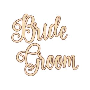 Bride and Groom White Wood Chair Sign in the Something Borrowed Wedding Closet | 48 Fields Farm in Leesburg, VA