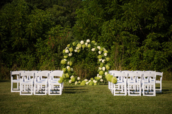 Hydrangea Ceremony Moongate in the Something Borrowed Wedding Closet | 48 Fields Farm in Leesburg, VA