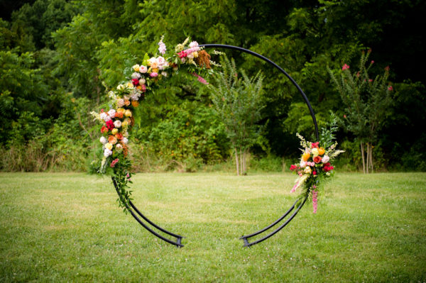 Modern Floral Moongate in the Something Borrowed Wedding Closet | 48 Fields Farm in Leesburg, VA