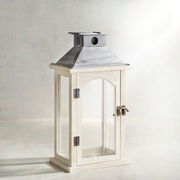 White Wood Lantern for Wedding Cards in the Something Borrowed Wedding Closet | 48 Fields Farm in Leesburg, VA