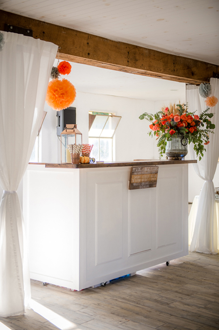 White Wood Bar in the Something Borrowed Wedding Closet | 48 Fields Farm in Leesburg, VA