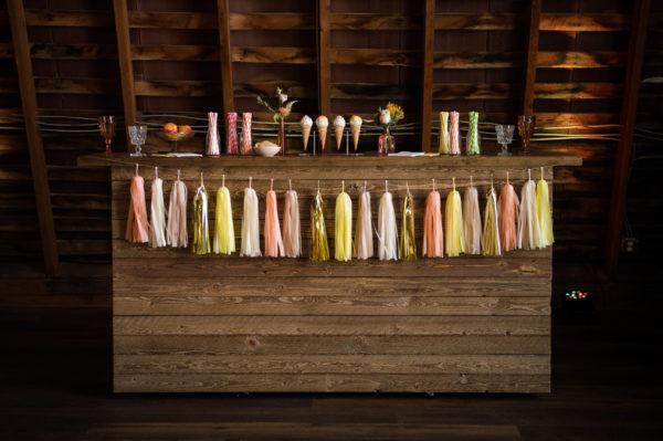 Rustic Wood Bar in the Something Borrowed Wedding Closet | 48 Fields Farm in Leesburg, VA