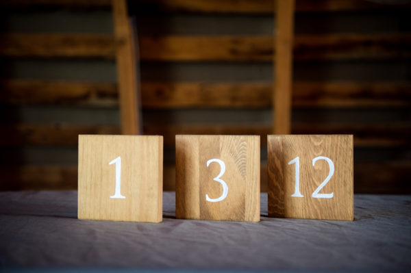 Rustic Wood Wedding Reception Table Numbers in the Something Borrowed Wedding Closet | 48 Fields Farm in Leesburg, VA