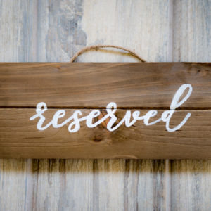 Rustic Wood Wedding Ceremony Reserved Sign in the Something Borrowed Wedding Closet | 48 Fields Farm in Leesburg, VA