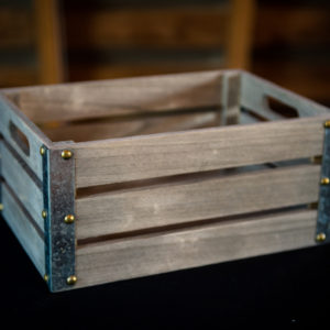 Gray Wood Crate for Wedding Decor in the Something Borrowed Wedding Closet | 48 Fields Farm in Leesburg, VA