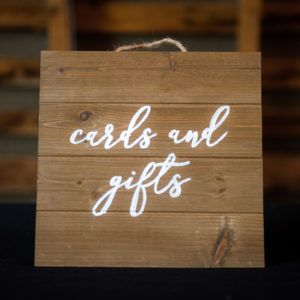 Cards and Gifts Rustic Wood Sign in the Something Borrowed Wedding Closet | 48 Fields Farm in Leesburg, VA