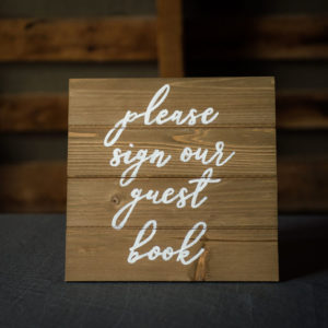 Guest Book Rustic Wood Sign in the Something Borrowed Wedding Closet | 48 Fields Farm in Leesburg, VA