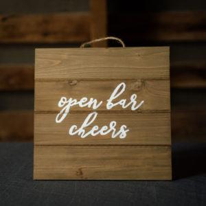 Open Bar Rustic Wood Sign in the Something Borrowed Wedding Closet | 48 Fields Farm in Leesburg, VA