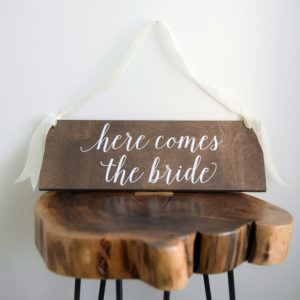 Here Comes the Bride Rustic Wood Sign in the Something Borrowed Wedding Closet | 48 Fields Farm in Leesburg, VA