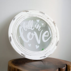 Fall in Love Round White Rustic Wood Sign in the Something Borrowed Wedding Closet | 48 Fields Farm in Leesburg, VA