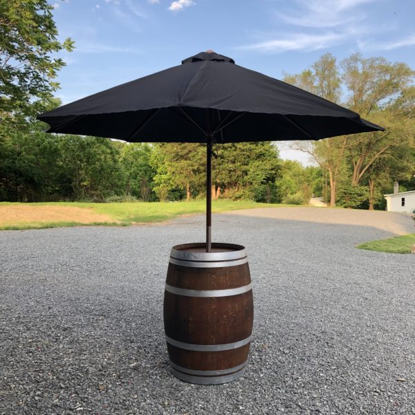 Wine Barrel with Black Patio Umbrella in the Something Borrowed Wedding Closet | 48 Fields Farm in Leesburg, VA