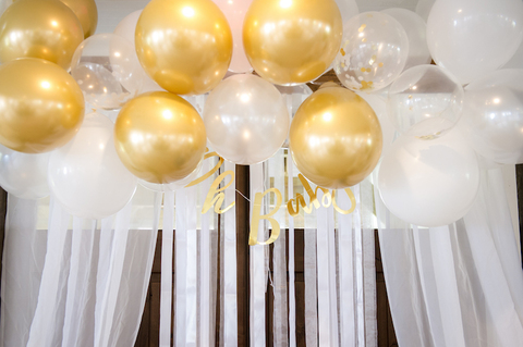 baby shower gold and white balloon photo backdrop northern virginia venue