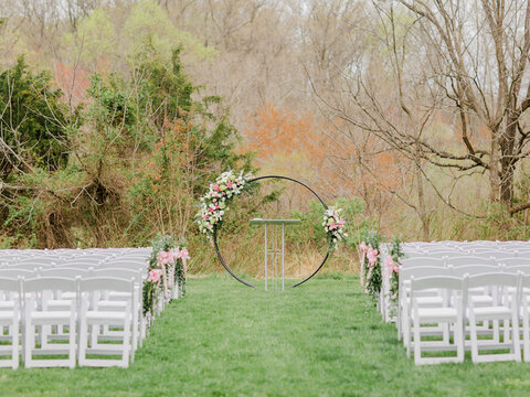 outdoor ceremony setup northern virginia moongate