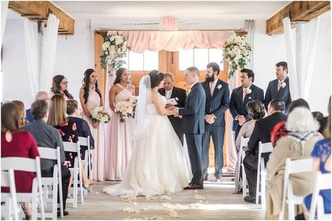 Indoor wedding ceremony 48 Fields Northern Virginia barn venue