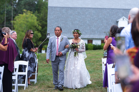 bride walking down aisle outdoor wedding ceremony 48 Fields