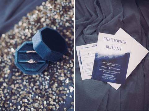 navy blue and white wedding invitations and velvet blue ring box
