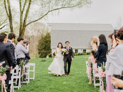 bride walking down aisle - 48 Fields Wedding Barn | Leesburg VA
