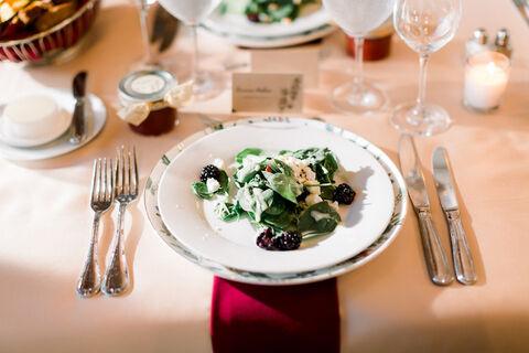 wedding table salad - 48 Fields Wedding Barn | Leesburg VA