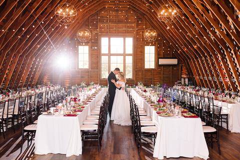 bride and groom reception barn - 48 Fields Wedding Barn | Leesburg VA