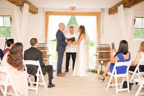 micro wedding indoor ceremony bride and groom - 48 Fields Wedding Barn | Leesburg VA