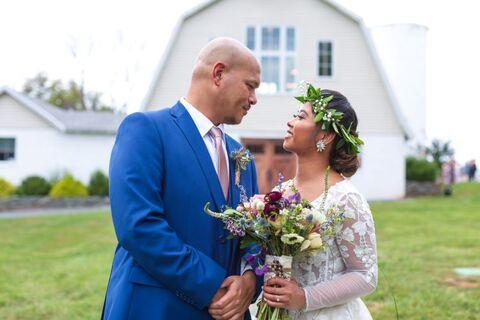 Bride and groom barn exterior - 48 Fields Wedding Barn | Leesburg VA