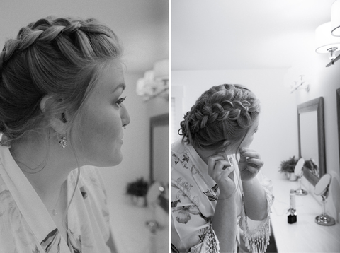 bride getting ready braided updo - 48 Fields Wedding Barn | Leesburg VA