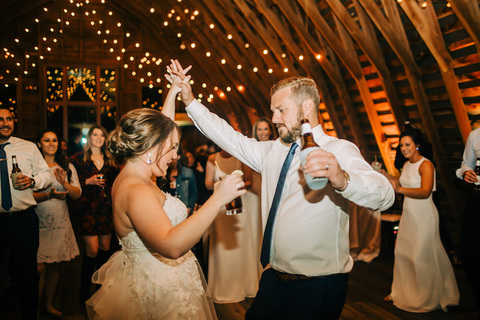 bride and groom dancing reception - 48 Fields Wedding Barn | Leesburg VA